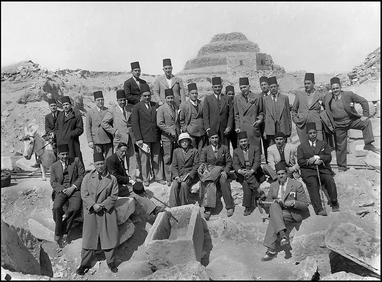The people of the Ancient Empire...As war broke out, foreigners left the country, and the Egyptians reclaimed Saqqara. Abdessalam Hussein, Selim Hassan, Makramallah and the inspectors of the Department of Antiquities posed for Hassabollah Taieb as they prepared to take charge of the prestigious historical past of their nation.....TAIEB HASSABOLLAH/COLLECTION PATRICK CHAPUIS-PHILIPPE FLANDRIN