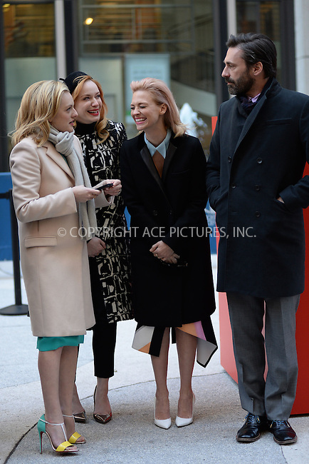 WWW.ACEPIXS.COM<br /> March 23, 2015 New York City<br /> <br /> Elisabeth Moss,Christina Hendricks, January Jones and Jon Hamm attending the 'Mad Men' art installation Unveiling at Time &amp; Life Building on March 23, 2015 in New York City. <br /> <br /> Please byline: Kristin Callahan/AcePictures<br /> <br /> ACEPIXS.COM<br /> <br /> Tel: (646) 769 0430<br /> e-mail: info@acepixs.com<br /> web: http://www.acepixs.com