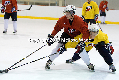 Danny Kristo (US - 17), Aaron Ness (US - 3) - Team USA practiced on Thursday, August 13, 2009, in the USA (NHL-sized) Rink in Lake Placid, New York, during the 2009 USA Hockey National Junior Evaluation Camp.