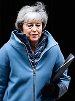 Image ©Licensed to i-Images Picture Agency. 12/02/2019.<br /> British Prime Minister, Theresa May, leaves for Parliament. She is trying to finalise her Brexit plans ahead of the March 29th Deadline. She has promised MPs a final, decisive vote on her Brexit deal with the EU.<br />  London, United Kingdom. Theresa May leaves for Parliament. Downing Street. Picture by Mark Thomas / i-Images