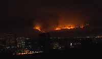 Fire rages in the Verdugo Mountains above the city of Burbank, California, USA. In the foreground can be seen the water tower of Warner Brothers Studio.<br /> 02 Sept. 2017<br /> Picture: Paul Smith/Featureflash/SilverHub 0208 004 5359 sales@silverhubmedia.com