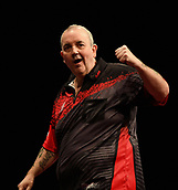 "11th January 2018, Brisbane Royal International Convention Centre, Brisbane, Australia; Pro Darts Showdown Series; Phil ""The Power "" Taylor (GBR) celebrates hitting a maximum in his Semi Final against Simon ""The Wizard"" Whitlock (AUS)"