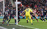 Billy Sharp of Sheffield Utd scores a goal during the Premier League match at Bramall Lane, Sheffield. Picture date: 9th February 2020. Picture credit should read: Chloe Hudson/Sportimage