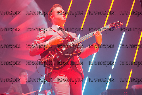 Two Door Cinema Club - vocalist and guitarist Alex Trimble - performng live at Alexandra Palace in London UK - 27th April 2013.   Photo credit: Justin Ng/Music Pics Ltd/IconicPix