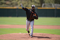 San Francisco Giants starting pitcher Johnny Cueto (47) delivers a pitch to the plate during a rehab assignment in a Minor League Spring Training game against the Cleveland Indians at the San Francisco Giants Training Complex on March 14, 2018 in Scottsdale, Arizona. (Zachary Lucy/Four Seam Images)