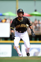 Pittsburgh Pirates shortstop Pedro Florimon (17) during a Spring Training game against the Boston Red Sox on March 12, 2015 at McKechnie Field in Bradenton, Florida.  Boston defeated Pittsburgh 5-1.  (Mike Janes/Four Seam Images)