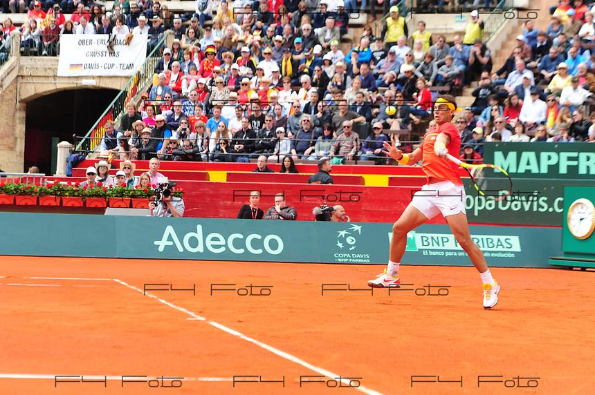 VALENCIA, SPAIN - 06/04/2018. Copa Davis 2018, Espa&ntilde;a vs Alemania, Plaza de Toros de Valencia, Spain.<br /> <br /> Rafa Nadal.