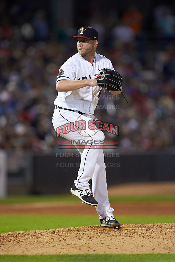 Toledo Mud Hens relief pitcher Kevin Chapman (13) in action against the Louisville Bats at Fifth Third Field on June 16, 2018 in Toledo, Ohio. The Mud Hens defeated the Bats 7-4.  (Brian Westerholt/Four Seam Images)