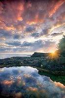 Oueen's Bath with sunrise. Kauai, Hawaii.