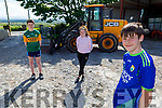 Jamie Keane at home on the farm in Lisselton with Ava Barrett and Darragh Scanlon as the trio  cannot get their driving licence theory test that would allow them drive a tractor due to the Covid 19 restrictions
