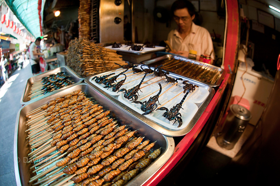Deep fried and on a stick, scorpions, silkworms, beatles, crickets, centipedes and spiders for sale at a food stand in Guangzhou, China.