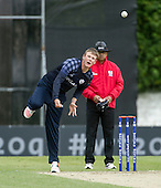 ICC World T20 Qualifier - GROUP B MATCH - SCOTLAND V UAE at Grange CC, Edinburgh - Michael Leask bowling — credit @ICC/Donald MacLeod - 09.07.15 - 07702 319 738 -clanmacleod@btinternet.com - www.donald-macleod.com