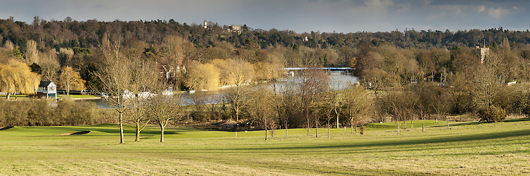 Panoramic image of the River Thames and Cookham Bridge in Berkshire from adjoining hill, Uk