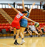 29th December 2019; Bendat Basketball Centre, Perth, Western Australia, Australia; Womens National Basketball League Australia, Perth Lynx versus Canberra Capitals; Katie Ebzery of the Perth Lynx loses possession as she drives past Gemma Potter of the Canberra Capitals - Editorial Use
