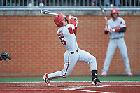 Casey Martin (15) of the Arkansas Razorbacks follows through on his swing against the Charlotte 49ers at Hayes Stadium on March 21, 2018 in Charlotte, North Carolina.  The 49ers defeated the Razorbacks 6-3.  (Brian Westerholt/Four Seam Images)