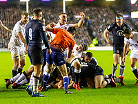 8th February 2020; Murrayfield Sadium, Edinburgh, Scotland; International Six Nations Rugby, Scotland versus England; Ellis Genge of England scores the only try of the match as England run out 13-6 winners.