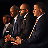 New York Knicks general manager Scott Perry, right, speaks with the media during the team's 2018-19 Season Tipoff press conference in the lobby of the Hulu Theater at Madison Square Garden on Thursday, Sept. 20, 2018. Sitting alongside him are head coach David Fizdale, second from right, and team president Steve Mills.