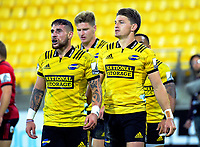 From left, TJ Perenara, Jordie and Beauden Barrett during the Super Rugby match between the Hurricanes and Crusaders at Westpac Stadium in Wellington, New Zealand on Friday, 29 March 2019. Photo: Dave Lintott / lintottphoto.co.nz