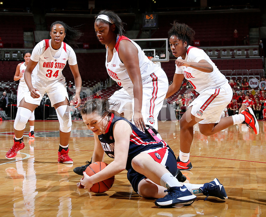 Natalie Cohlmeyer (22) of the Belmont Bruins dives on a loose ball while guarded by Theresa Ekhelar (34), Chelsea Mitchell (5) and Kaylan Pugh (00) of the Ohio State Buckeyes during Tuesday's NCAA Division I women's basketball game at Value City Arena in the Jerome Schottenstein Center in Columbus on November 19, 2015. Ohio State won the game 84-56. (Barbara J. Perenic/The Columbus Dispatch)
