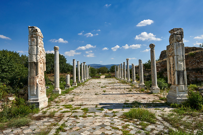 Theatre colonade of Aphrodisias Archaeological Site, Aydin Province, Turkey.
