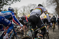 World Champion Peter Sagan (SVK/Bora-Hansgrohe) up the infamous 'Muur van Geraardsbergen' (1100m/7.6%)<br /> <br /> 72nd Omloop Het Nieuwsblad 2017