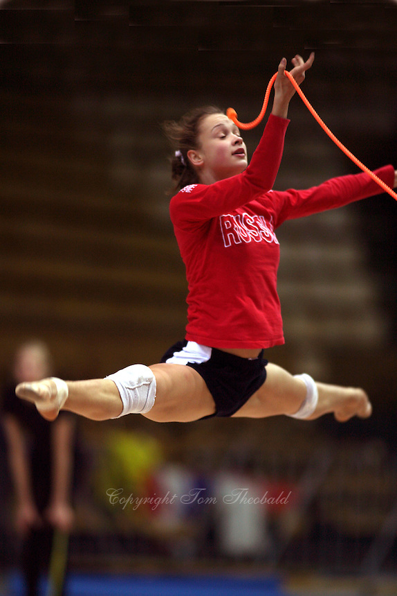 Marina Shpekt of Russia straddle jumps with rope during training before 2006 Deriugina Cup Grand Prix at Kiev, Ukraine on March 16, 2006. (Photo by Tom Theobald)