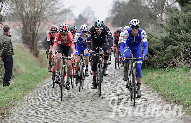 Zdenek Stybar (CZE/QuickStep), Ian Stannard (GBR/Team-SKY) &amp; Tiesj Benoot (BEL/Lotto-Soudal) up the Oude Kwaremont<br /> <br /> 69th Kuurne-Brussel-Kuurne 2017 (1.HC)