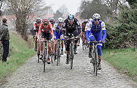 Zdenek Stybar (CZE/QuickStep), Ian Stannard (GBR/Team-SKY) & Tiesj Benoot (BEL/Lotto-Soudal) up the Oude Kwaremont<br /> <br /> 69th Kuurne-Brussel-Kuurne 2017 (1.HC)