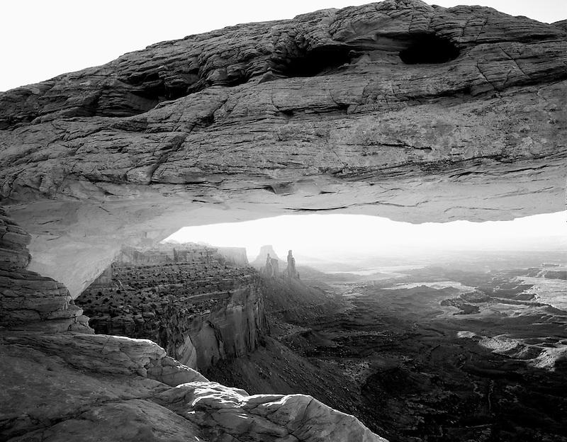 Mesa Arch with reflected morning light from canyon walls. Canyonlands National Park. Utah.