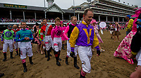 LOUISVILLE, KY - MAY 04: Jockeys walk onto the track to join in the Survivor's Parade on Kentucky Oaks Day at Churchill Downs on May 4, 2018 in Louisville, Kentucky. (Photo by Alex Evers/Eclipse Sportswire/Getty Images)