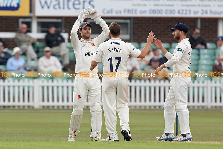 Graham Napier of Essex is congratulated on taking the wicket of Charlie Shreck - Leicestershire CCC vs Essex CCC - LV County Championship Division Two Cricket at Grace Road, Leicester - 15/09/14 - MANDATORY CREDIT: Gavin Ellis/TGSPHOTO - Self billing applies where appropriate - contact@tgsphoto.co.uk - NO UNPAID USE
