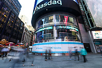NEW YORK, NY, 17.04.2017 - ECONOMIA-NASDAQ - Vista da bolsa de valores Nasdaq em New York nesta segunda-feira, 17. (Foto: William Volcov/Brazil Photo Press)