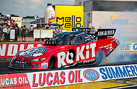 Jul 18, 2020; Clermont, Indiana, USA; NHRA funny car driver Alexis DeJoria during qualifying for the Summernationals at Lucas Oil Raceway. Mandatory Credit: Mark J. Rebilas-USA TODAY Sports