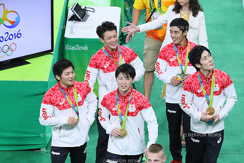 Japan team group (JPN), <br /> AUGUST 8, 2016 - Artistic Gymnastics : <br /> Men's Team Medal Ceremony <br /> at Rio Olympic Arena <br /> during the Rio 2016 Olympic Games in Rio de Janeiro, Brazil. <br /> (Photo by YUTAKA/AFLO SPORT)