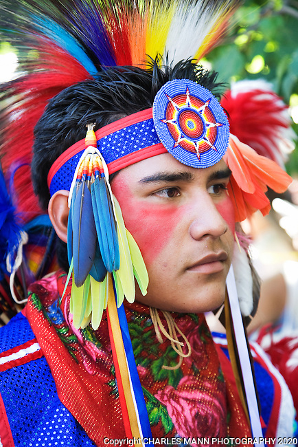 Elliot Tsoodle, a Navajo-Kiowa from Albuquerque, New Mexico, is dressed to compete in the Native American Costume Contest at the  2009 Santa Fe Indian Market