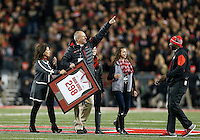 Men's basketball coach Thad Matta was honored at midfield during the first quarter of the NCAA football game between the Ohio State Buckeyes and the Penn State Nittany Lions at Ohio Stadium on Saturday, October 17, 2015. (Columbus Dispatch photo by Jonathan Quilter)