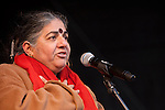 Vandana Shiva speaks to the crowd before the march towards the Bella Center. (Images free for Editorial Web usage for Fresh Air Participants during COP 15. Credit: Robert vanWaarden)