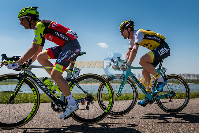 Breakaway with TJALLINGII Maarten from the Netherlands of Team Lotto NL - Jumbo (NED) on the Waaldijk at Gendt with 180 km to go, stage 3 from Nijmegen to Arnhem running 190 km of the 99th Giro d'Italia (UCI WorldTour), The Netherlands, 8 May 2016. Photo by Pim Nijland / PelotonPhotos.com | All photos usage must carry mandatory copyright credit (Peloton Photos | Pim Nijland)