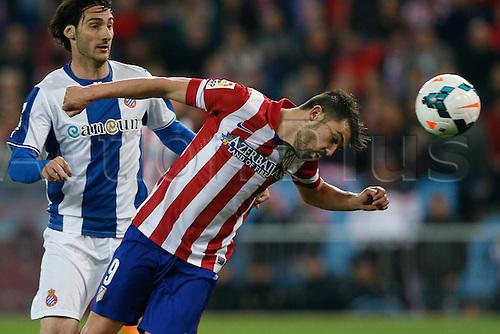15.03.2014. Madrid, Spain. La Liga football. Atletico Madrid versus Espanyol at Vicente Calderon stadium.  David Villa Sanchez (Spanish striker of At. Madrid)