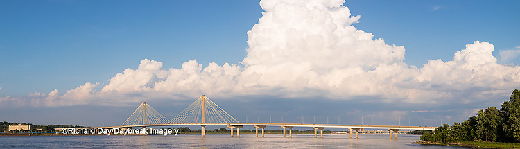 63895-14512 Clark Bridge over Mississippi River and thunderstorm (Cumulonimbus Cloud) Alton, IL
