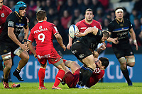 Chris Cook of Bath Rugby offloads the ball. Heineken Champions Cup match, between Stade Toulousain and Bath Rugby on January 20, 2019 at the Stade Ernest Wallon in Toulouse, France. Photo by: Patrick Khachfe / Onside Images