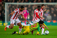 4th November 2019; Bet365 Stadium, Stoke, Staffordshire, England; English Championship Football, Stoke City versus West Bromwich Albion; Matheus Pereira of West Bromwich Albion is tackled by Cameron Carter-Vickers of Stoke City - Strictly Editorial Use Only. No use with unauthorized audio, video, data, fixture lists, club/league logos or 'live' services. Online in-match use limited to 120 images, no video emulation. No use in betting, games or single club/league/player publications
