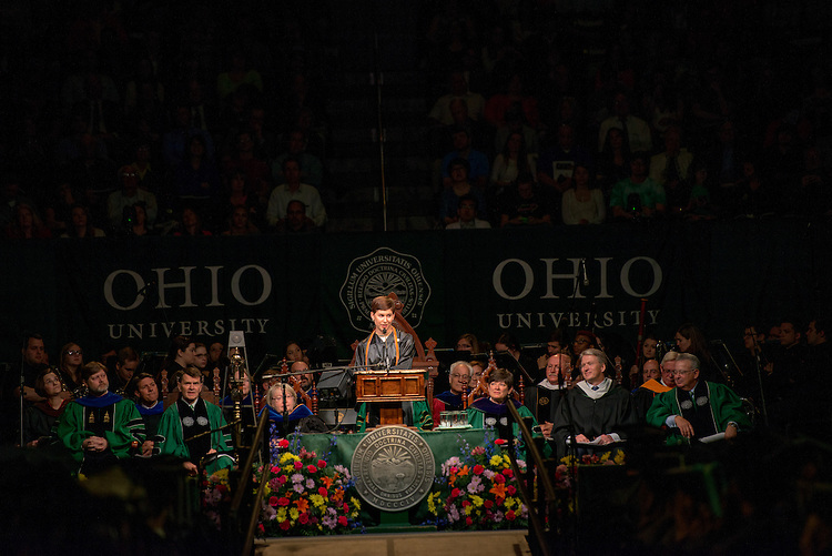 Macy DiRienzo gives the student address at the morning undergraduate commencement ceremony. Photo by Ben Siegel