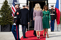 United States President Donald Trump and First Lady Melania Trump welcome Czech Republic Prime Minister Andrej Babiš and Mrs. Monika Babišová on the South Portico at White House in Washington, District of Columbia on Thursday, March 7, 2019. Credit: Ting Shen / CNP/AdMedia