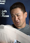 Masahiro Tanaka (Yankees),<br /> MARCH 7, 2015 - MLB : Masahiro Tanaka of the New York Yankees is interviewed by the press after a spring training baseball workout in Tampa, Florida, United States.<br /> (Photo by AFLO)