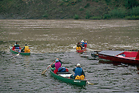 People setting out on Canoe Trip Expedition down Yukon River, Dawson City, YT, Yukon Territory, Canada
