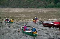 People setting out on Canoe Trip Expedition down Yukon River, Dawson City, YT, Yukon Territory, Canada