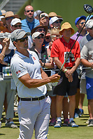 Adam Scott (AUS) watches his tee shot on 1 during round 1 of the AT&T Byron Nelson, Trinity Forest Golf Club, at Dallas, Texas, USA. 5/17/2018.<br /> Picture: Golffile | Ken Murray<br /> <br /> <br /> All photo usage must carry mandatory copyright credit (© Golffile | Ken Murray)