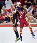 Philadelphia Union forward Sebastien Le Toux (9) and Real Salt Lake defender Tony Beltran (2) head the ball in the first half Saturday, March 14, 2015, during the Major League Soccer game at Rio Tiinto Stadium in Sandy, Utah. (© 2015 Douglas C. Pizac)