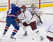 Chad Ruhwedel (UML - 3), Teddy Doherty (BC - 4), Parker Milner (BC - 35) - The University of Massachusetts Lowell River Hawks defeated the Boston College Eagles 4-2 (EN) on Tuesday, February 26, 2013, at Kelley Rink in Conte Forum in Chestnut Hill, Massachusetts.